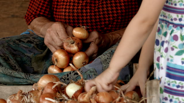 Little Girl Learns From Her Grandmother How to Prepare Food. Real People, Rural Scene, User Generated Content. video