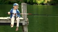 Little Girl on Dock Fishing video