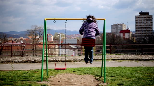 little girl on swing video