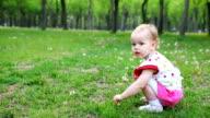 Little girl picking dandelion video