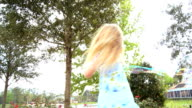 Little Girl Playing with Bubble Wand video