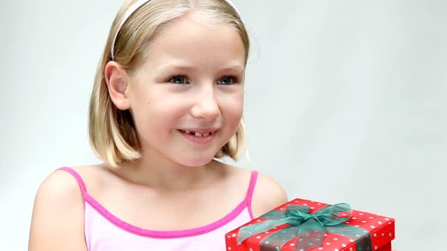 Little Girl Receiving Gift Present video