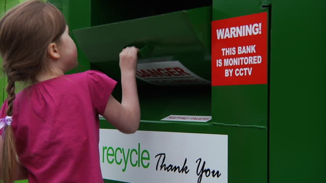 Little girl recycling video