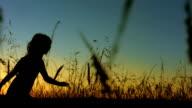 LA TS SLO MO Little Girl Silhouette Running In Grass video