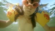 Little Girl Swimming Underwater video