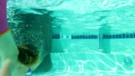 Little girl swims underwater video