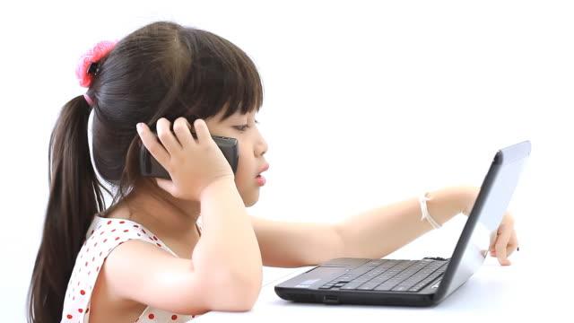 Little girl talking phone video