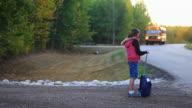 Little Girl waiting for School Bus video