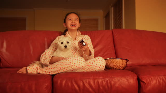 Little girl watching television with pet  dog video