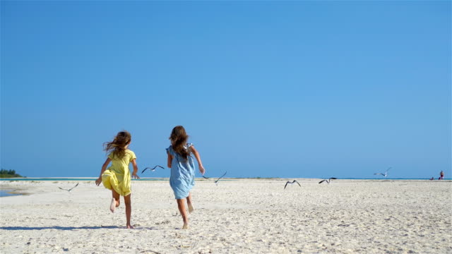 Little girls having fun at tropical beach playing together on the seashore video