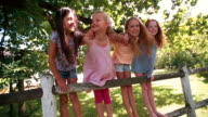 Little girls on fence under a tree on summer day video