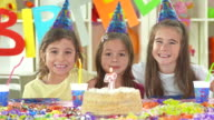 HD: Little Girls Posing With The Birthday Cake video