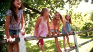 Little girls standing on a rustic wooden fence under tree video