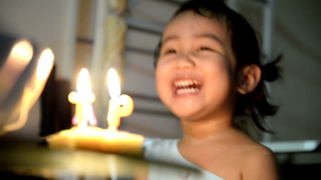 little pretty girl with birthday cake video