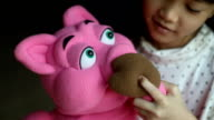 little puppeteer with pig and fox hand puppet video