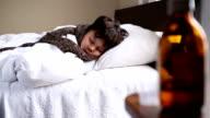 little sick boy sleeping restlessly video