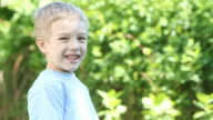 Little Smiling Boy Outdoors video