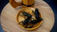 Live crayfish on a plate. video