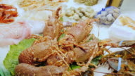 Live lobsters and crabs, stir claws. The famous la Boqueria market in Barcelona video