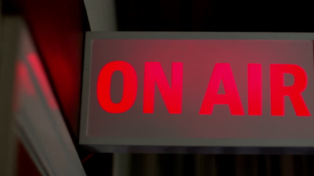 ON AIR live sign lit up, TV or Radio Station video