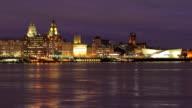Liverpool skyline at night video