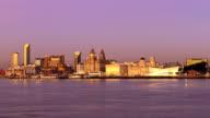 Liverpool skyline at sunset video