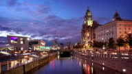 Liverpool Waterfront at Dusk, England, UK video