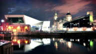Liverpool Waterfront at night, England, UK video