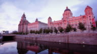 Liverpool Waterfront at sunset, England, UK video