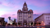 Liverpool's Liver Building at Dusk, England UK video
