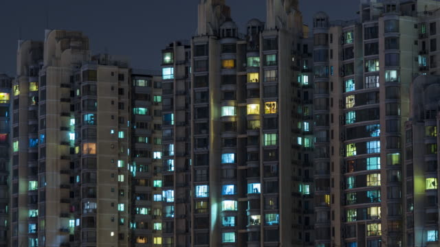 T/L MS HA TD Living Apartment, Residential Building at Night / Beijing, China video