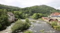 Llangollen Wales uk River Dee fast flowing through beautiful Welsh tourist destination video