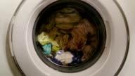 Loaded washing machine on, laundry process, money laundering video