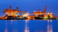 Loading Goods cargo in Bangkok Shipyard at Dusk Time Lapse video