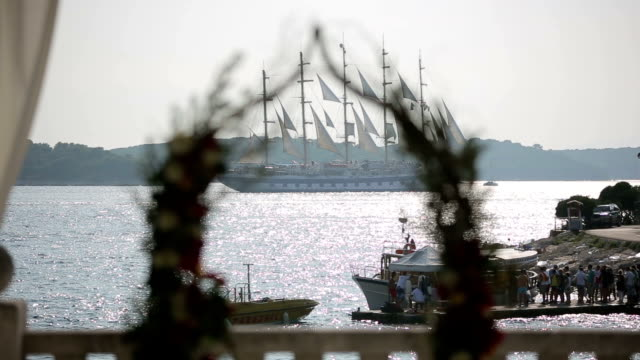 Loading tourists on a big ship video