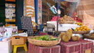 Local fruits stall and a fan blowing air video