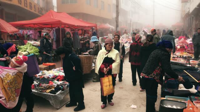 local market at morning in yuanyang china video
