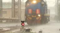 Locomotive moving under the rain / Russia video