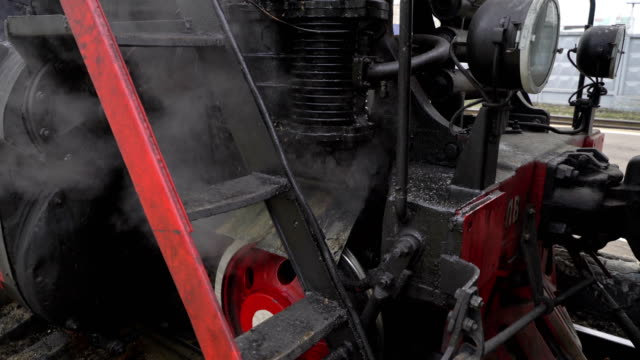 Locomotive Under Steam on Siding. Concept modern life - old and new video