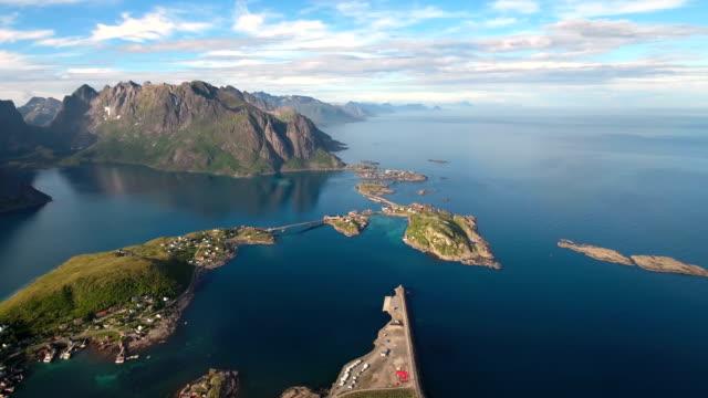 Lofoten archipelago islands Aerial footage video