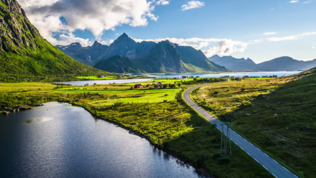 AERIAL: Lofoten Islands Landscape - Scandinavia video