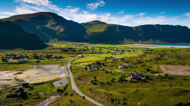 Lofoten Islands Village aerial shot, Nordland - Norway video
