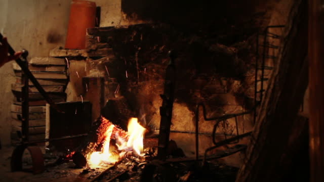 Log Fire for a Warm Fireplace video