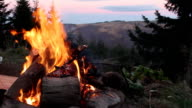 Log fire in high mountains video