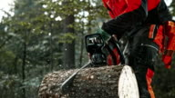 SLO MO DS Logger cutting rounds with chainsaw video