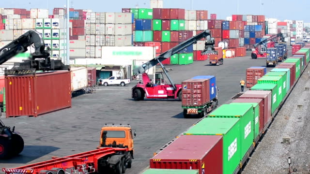 Logistics operation in railroad container yard. video