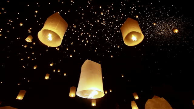 Loi Krathong Festival, Hands Releasing Floating Lantern, Chiang Mai, Thailand video