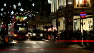 London at night. Oxford Circus crossroad.Time lapse video