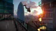 London at sunrise, Military Chopper passing, Swiss Reinsurance Headquarters, The Gherkin, raining video