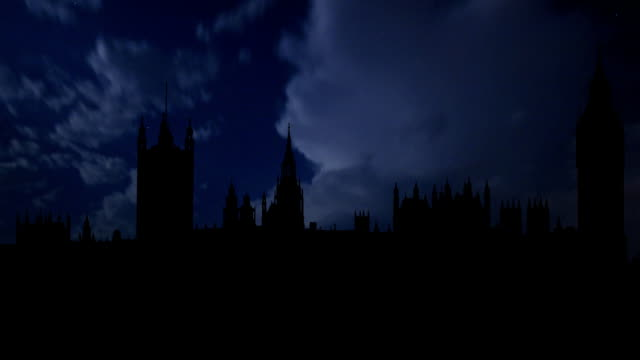 UK London Big Ben and night thunderstorm video